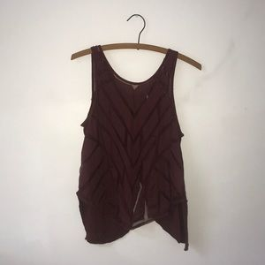 Free People Mesh Pattern Half-Open Back Tank